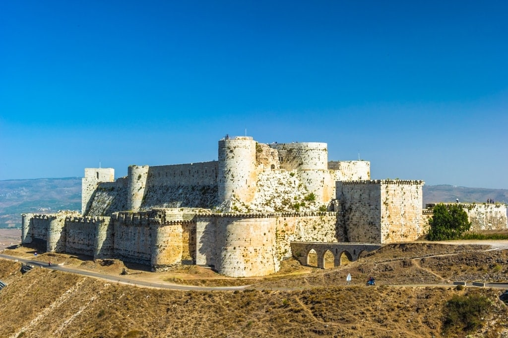 Krak des Chevaliers is a Crusader castle in Syria