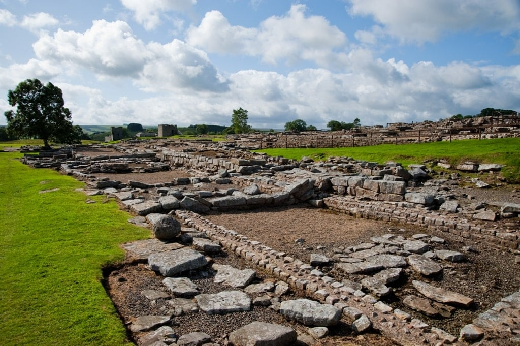 Ruins at Vindolanda Roman fort in England