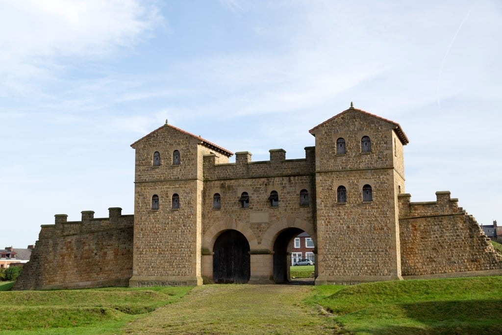 The reconstructed main gate of the Roman Fort (Arbeia) in South Shields, England.