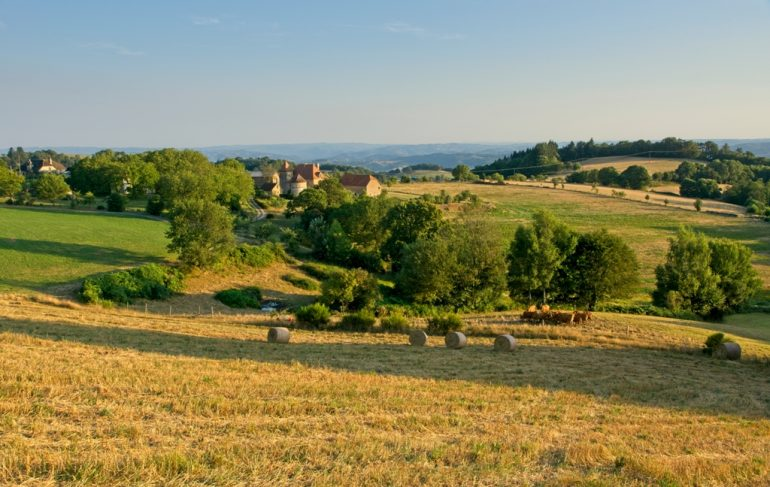 Countryside near St Cere in the Lot valley in France