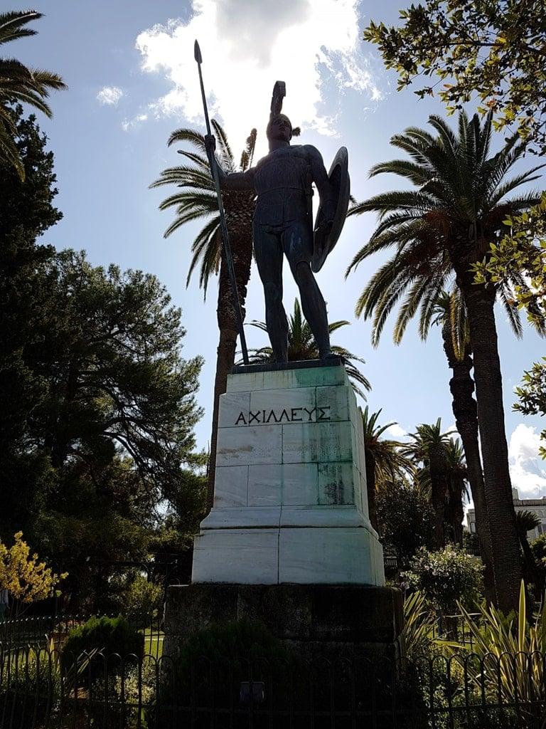 Bronze statue of Achilles - Achillion Palace in Corfu